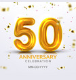 fiftieth anniversary celebration number vector image vector image