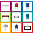 flat icon technology set of recipient resistor vector image vector image