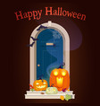 halloween door decorations with pumpkins in night vector image