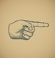 Hand draw sketch vintage index finger vector image vector image