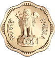 indian rupee gold coin vector image vector image