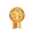 isolated golden award medal ribbon badge vector image