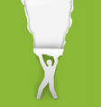 man ripping green paper background vector image vector image