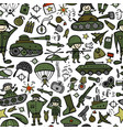military sketch seamless pattern for your design vector image vector image