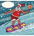 Modern Santa Claus rides on a snowboard vector image vector image