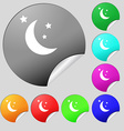 moon icon sign Set of eight multi colored round vector image vector image