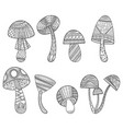 mushrooms with patterns black and white vector image vector image