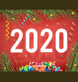 new year 2020 background confetti ribbons vector image vector image