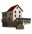 old stone watermill vector image
