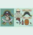 pirate elements for creating mascot and logo vector image vector image