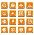 pizza icons set orange vector image vector image