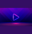 play button on abstract purple and blue background vector image