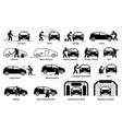 professional auto car detailer icons set auto vector image