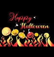 pumpkin and fire for halloween on a dark vector image vector image
