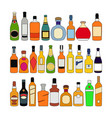 set alcohol bottles glass color isolated on vector image vector image