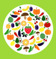 set of colored vegetable icons circle with tomato vector image vector image