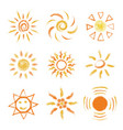 set of hand drawn chalk suns vector image