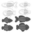 set of of fish with skeletons vector image vector image