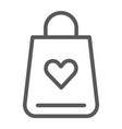 shopping bag line icon love and gift package vector image vector image