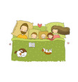 sleeping family mom dad and children sweet vector image vector image