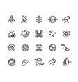 space line icons cosmic astronomy galaxy vector image