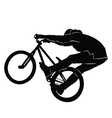 Teenager riding a bicycle in black and white vector image vector image