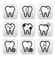 Tooth teeth buttons set vector image vector image