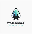 water drop electrical logo icon template vector image