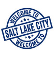 welcome to salt lake city blue stamp vector image vector image