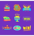 Win Congratulations Stickers Assortment Of Comic vector image