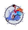woman deliver food riding retro scooter delivery vector image vector image