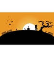 Zombie and bat halloween backgrounds silhouette vector image vector image