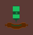 pixel icon in flat style sausage with ketchup vector image