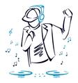 DJ mixing music vector image