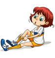 A girl pulling her sock vector image vector image
