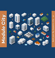 a set of isometric city vector image vector image