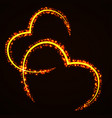 abstract hearts of glowing particles sparkling vector image