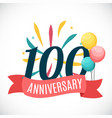 anniversary 100 years template with ribbon vector image vector image