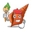 artist long shell character cartoon vector image