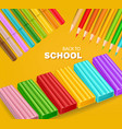 back to school card with colorful pencils and vector image vector image