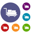 cart with luggage icons set vector image vector image