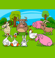 cartoon farm animals comic characters group vector image vector image