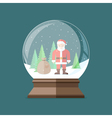 Christmas snow globe with Santa Claus inside Flat vector image vector image