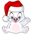 christmas waving baby polar bear vector image vector image