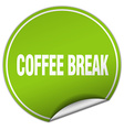 coffee break round green sticker isolated on white vector image vector image
