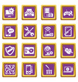 computer repair service icons set purple square vector image vector image