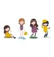 cute cartoon girls and four seasons vector image