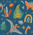 cute dinosaurs seamless pattern with bright vector image