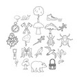 dangerous territory icons set outline style vector image vector image