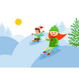 downhill from a snowy mountain kids on sled flat vector image